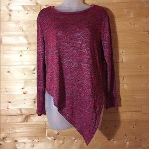 New asymmetrical hem sweater blouse L